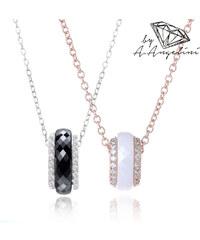 Collier en argent 925 avec anneau et pierres de zircone A.Angelini