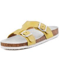 Barea Dětské žlutobílé pantofle 010050