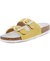 Barea Dětské žlutobílé pantofle 010053