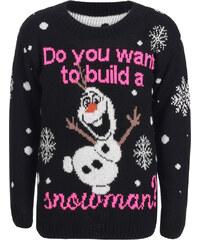 Saxana Detský černý svetr Build A Snowman