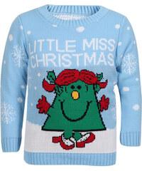 Saxana Dětský modrý svetr Little Miss Christmas