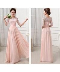 LM moda A Plesové šaty dlouhé s krajkou jemně meruňkové 6a1c2d8254
