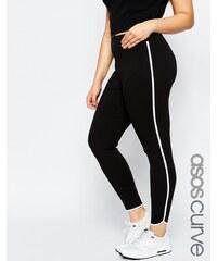 ASOS CURVE - Leggings avec bandes contrastantes - Noir