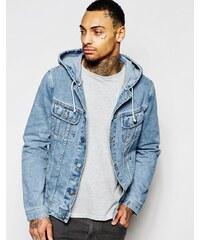 ASOS - Veste à capuche en jean à délavage moyen - Bleu