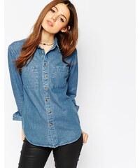 ASOS - Chemise en jean à délavage bleu rétro Marlin - Bleu