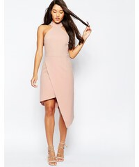 ASOS - Hochgeschlossenes, asymmetrisches Kleid - Rosa