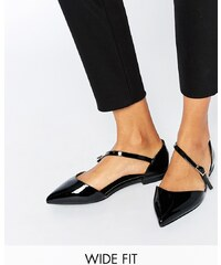 ASOS - LEAD THE WAY - Ballerines plates pointure large à bout pointu - Noir
