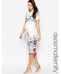 ASOS Maternity - Robe fourreau en néoprène fleuri et rayé - Multi