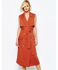 Lavish Alice - Trench-coat sans manches avec boutons dorés - Orange
