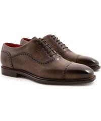 Leonardo Shoes Richelieus pour homme en cuir avec bout droit