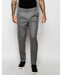 ASOS - Pantalon slim élégant à plis avec fermetures éclair sur les côtés - Gris