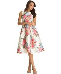 Chi Chi London společenské šaty Stevie, bílé s květy