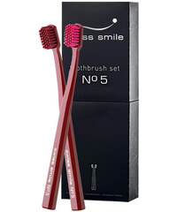 Swiss Smile No. 5 Toothbrush Kit dárková sada U - 1pc Sensitive-Soft Toothbrush Lotus Red + 1pc Ultra Soft Toothbrush Lotus Red Zubní kartáčky pro citlivé zuby