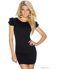 Společenské šaty s křidélkovými rukávy - černé