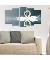 Lesara 5 Panneaux muraux avec cygnes