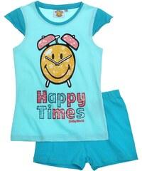 Smiley Shorty-Pyjama blau in Größe 116 für Mädchen aus 100% Baumwolle