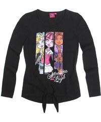 Monster High Langarmshirt schwarz in Größe 128 für Mädchen aus 100% Baumwolle