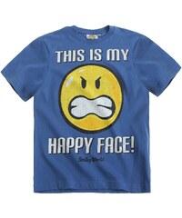 Smiley T-Shirt blau in Größe 116 für Jungen aus 100% Baumwolle