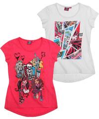 Monster High Doppelpack T-Shirt weiß in Größe 128 für Mädchen aus 100% Baumwolle