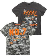Disney Planes Doppelpack T-Shirt grau in Größe 98 für Jungen aus 100% Baumwolle