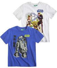 Star Wars-The Clone Wars Doppelpack T-Shirt blau in Größe 104 für Jungen aus 100% Baumwolle