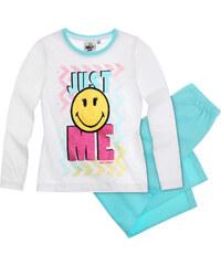 Smiley Pyjama hellblau in Größe 116 für Mädchen aus 100% Baumwolle