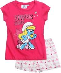 Die Schlümpfe Shorty-Pyjama pink in Größe 104 für Mädchen aus 100% Baumwolle