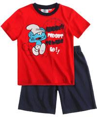 Die Schlümpfe Shorty-Pyjama marine blau in Größe 104 für Jungen aus 100% Baumwolle