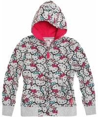 Hello Kitty Sweatjacke mit Kapuze grau in Größe 98 für Mädchen aus Obermaterial: 80 % Baumwolle 20 % Polyester Kapuze: 100 % Baumwolle