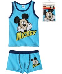 Disney Mickey Unterwäsche-Set 2tlg blau in Größe 98 für Jungen aus 95% Baumwolle 5% Elastan