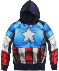 Captain America Sweatshirt mit Kapuze blau in Größe 98 für Jungen aus 100% Baumwolle
