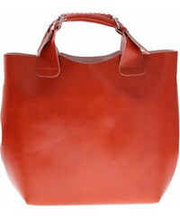 Vera Pelle Kožená kabelka Shopperbag s kosmetickou kapsičkou zrzavá