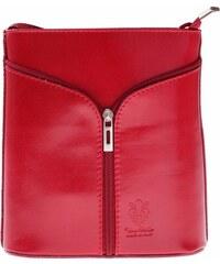 Genuine Leather Kožená kabelka listonoška Made in Italy červená