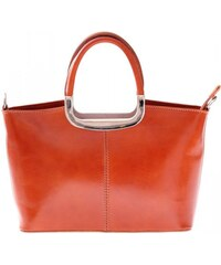 Klasická kožená kabelka genuine leather zrzavá