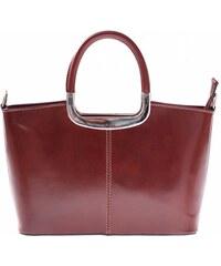 Klasická kožená kabelka genuine leather hnědá
