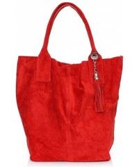 Genuine Leather Kožené kabelky Shopperbag přírodní semiš červená