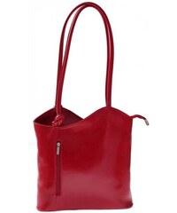 Genuine Leather Kožená kabelka batůžek Made in Italy červená