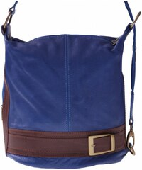 Genuine Leather Kabelka batůžek měkká přírodní kůže modrá