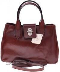 Vera Pelle Kožená kabelka kufřík Made in Italy hnědý