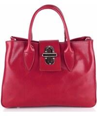 Vera Pelle Kožená kabelka kufřík Made in Italy červený