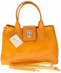 Vera Pelle Kožená kabelka kufřík Made in Italy žlutý