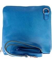 Malá kožená kabelka listonoška Vera Pelle tyrkys