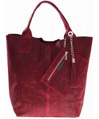 Genuine Leather Shopperbag kožená kabelka vzory 3D červená