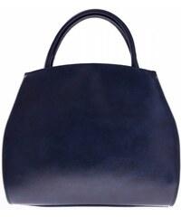 Genuine Leather Kožená kabelka kufřík s možností rozšíření Tmavě modrá