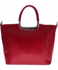 Vera Pelle Kožený kufřík do ruky s dlouhým páskem červený