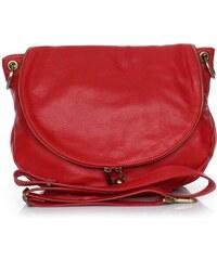 Genuine Leather Dámská kožená kabelka listonoška – vysoká kvalita červená