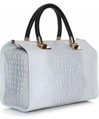 Genuine Leather Elegantní kožený kufřík Aligator světle šedý