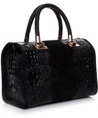 Genuine Leather Elegantní kožený kufřík Aligator cčerný