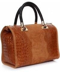 Genuine Leather Elegantní kožený kufřík Aligator zrzavý