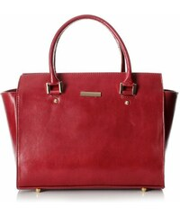 Genuine Leather Módní kožená kabelka kufřík červená